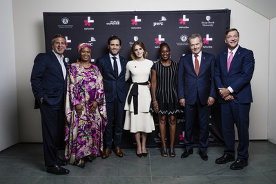 Participants gather for the HeForShe Second anniversary at the MoMA in New York City. Bob Moritz, Chairman, PricewaterhouseCoopers International Limited; Phumzile Mlambo-Ngcuka, Under Secretary-General and Executive Director of UN Women; Edgar Ramirez, Actor; Emma Watson, British Actor and UN Women Global Goodwill Ambassador; Chirlane McCray, First Lady of New York City; His Excellency, Sauli Niinistö, President of Finland; Samuel L. Stanley Jr, President, Stony Brook University