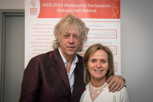 Sir Bob Geldof with AIDS 2014Local Co-chair Sharon Lewin – promoting the AIDS 2014 Melbourne Declaration – Nobody Left BehindPhoto credit: International AIDS Society/Steve Forrest (PRNewsFoto/International AIDS Society)