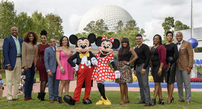The Disney Dreamers Academy judges gathered at Walt Disney World this year to select the Disney Dreamers Academy Class of 2016. From left, Dr. Alex O. Ellis, Simply Ellis Custom Clothier CEO; Yolanda Adams, gospel music legend; Brandi Harvey, Steve and Marjorie Harvey Foundation executive director; Princeton Parker, Disney Dreamers Academy alumnus; Sonia Jackson Myles, founder and author of The Sister Accord; Mickey Mouse; Minnie Mouse...