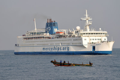 The Africa Mercy, a private hospital ship operated by Mercy Ships.