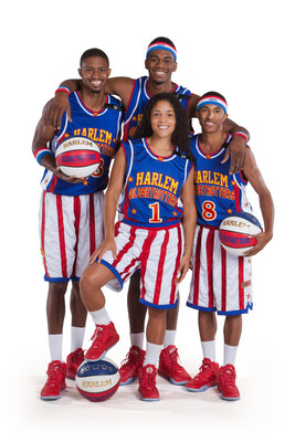 The Harlem Globetrotters' rookie class of 2016: (Back; l-r) Beast Cunningham, Viper Carter; (Front; l-r) Ace Jackson (no. 1), Rocket Pennington (no. 8).