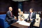 Haiti President Michel Martelly, Happy Hearts Fund Founder, Petra Nemca and IDB President Luis Alberto Moreno sign MOU for Haiti education.  (PRNewsFoto/Happy Hearts Fund)