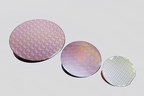 Peregrine Semiconductor's UltraCMOS(R) technology platform now includes 300 mm wafers. Pictured are wafers from the UltraCMOS 11 technology platform (left), UltraCMOS 10 platform and UltraCMOS silicon on sapphire (right).