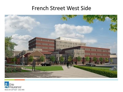 Erie Insurance will build a seven-story, 346,000 square foot, LEED-certified office complex on its existing home office campus in downtown Erie, Pa. Construction is expected to begin in spring 2017 and last about three years.