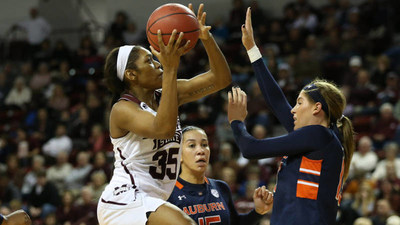 Mississippi State sophomore guard Victoria Vivians, the SEC's second leading scorer and the defending C Spire Gillom Trophy winner, is vying to become the third back-to-back winner of the award, which annually honors the top female college basketball player in Mississippi.  Vivians is one of three finalists for the 2016 award. - photo courtesy of Hail State Athletics