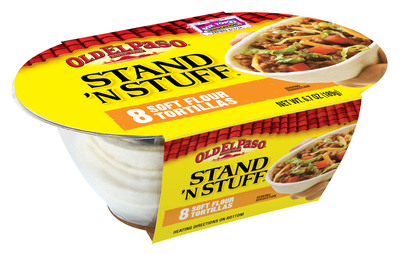 Old El Paso(R) Stand 'N Stuff(R) Soft Flour Tortillas, an innovative soft taco that stands up.  (PRNewsFoto/Old El Paso)