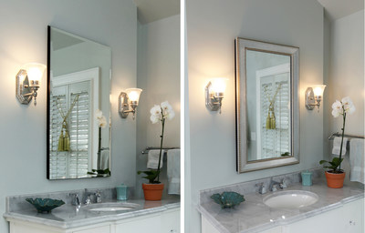 A frame easily dresses up a standard, unframed medicine cabinet. This MirrorMate frame is custom cut to fit the mirror and, once assembled, presses directly onto the mirror. This simple addition transforms this utilitarian piece into something beautiful.