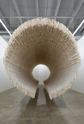 Boat, 2012, by Zhu Jinshi (Chinese, b. 1954). Xuan paper, bamboo and cotton thread. Courtesy of Rubell Family Collection, Miami. (c) Zhu Jinshi, (c) ARS, New York.