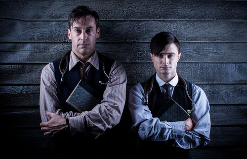 "Jon Hamm and Daniel Radcliffe star in Ovation's ""A Young Doctor's Notebook"" premiering this summer. Photo credit: Colin Hutton.  (PRNewsFoto/Ovation)"