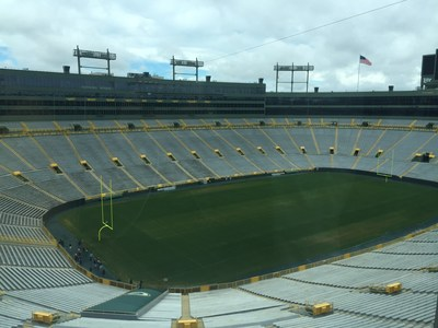 As part of the tour, injured veterans got to take in a view of the field from one of Lambeau's VIP suites.