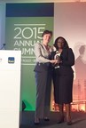 Ope Wemi-Jones, right, accepts the GBA Women's Market Champion award from Alliance CEO Inez Murray, left, on behalf of Access Bank, Nigeria.