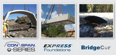 Contech Engineered Solutions launches three new bridge products offering accelerated bridge construction with their release of the CON/SPAN O-Series and EXPRESS Foundations precast bridge products, as well as BridgeCor deep-corrugated structural plate. These innovative products are game-changers that will provide significant technological advancement in the efficient use of materials and speed of construction to support the nation's bridge infrastructure.  (PRNewsFoto/Contech Engineered Solutions LLC)