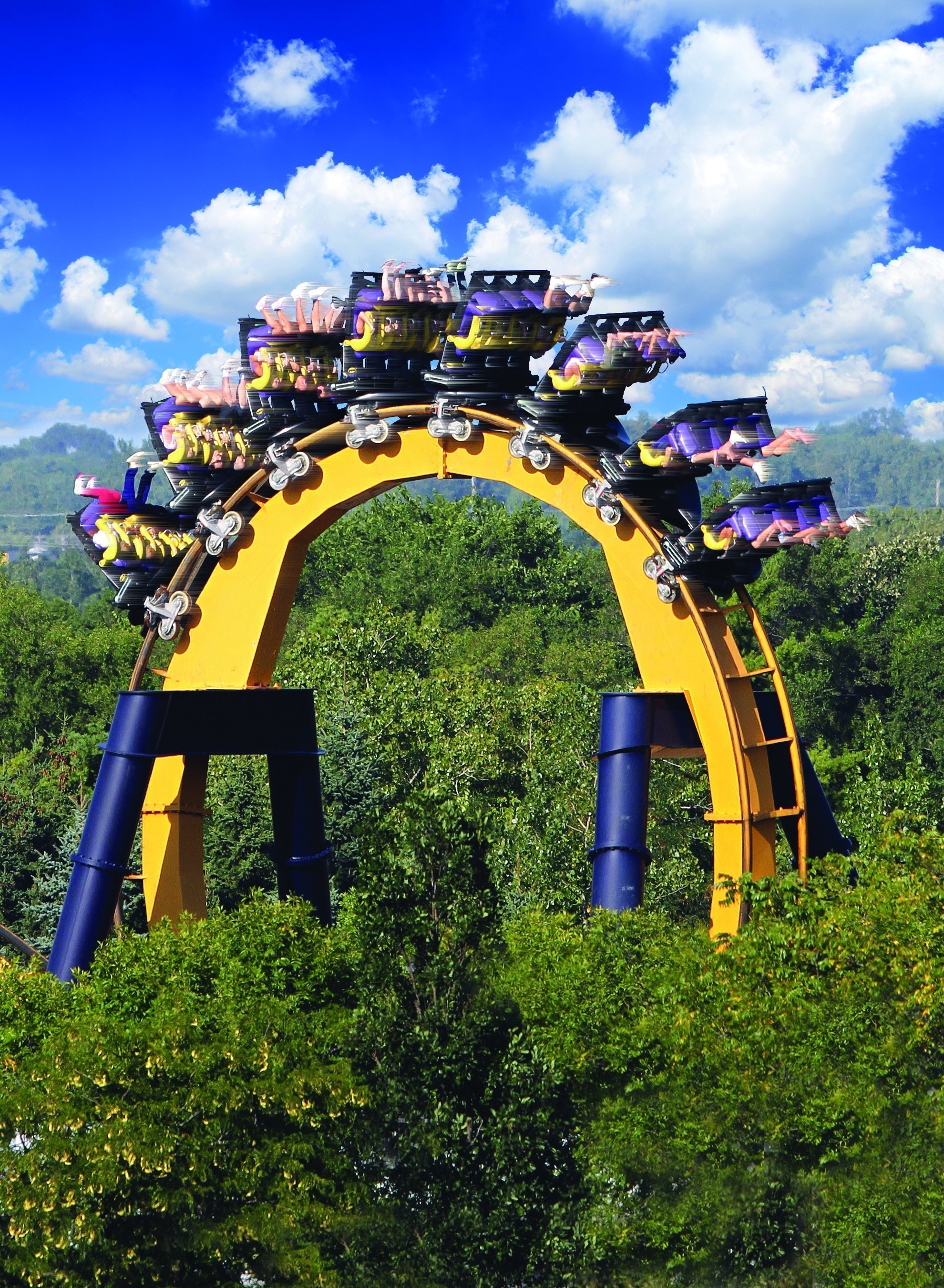 BATMAN(TM): The Ride backwards features five gut-wrenching inversions guests never see coming. The ride is available for a limited run this summer at Six Flags Great Adventure