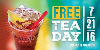McAlister's Deli kicks off 8th annual Free Tea Day Thursday, July 21.