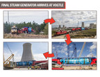 Final 1.3 million-pound steam generator arrives at the Plant Vogtle nuclear power construction site.