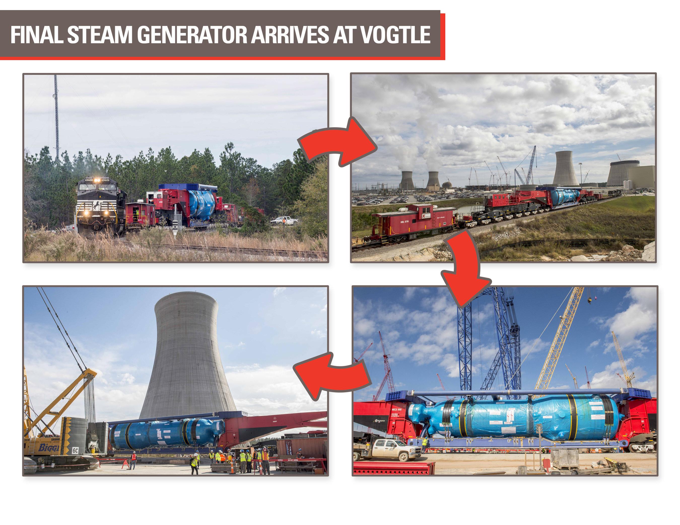 Final 1.3 million-pound steam generator arrives at the Plant Vogtle nuclear power construction site.