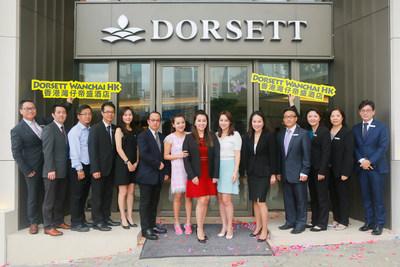 Ms Winnie Chiu, President of Dorsett Hospitality International, Ms Anita Chan, General Manager of Dorsett Wanchai, Hong Kong (the 5th from the right) and Dorsett Wanchai Staff