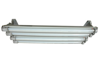 The Magnalight EPL-EMG-48-4L-LED Explosion Proof LED Light Fixture is U.S./Canada U.L. approved Class 1 Division 1 &2 and Class 2 Division 1 and 2 for areas where flammable chemical/petrochemical vapors exist or have the potential to exist.  This explosion proof LED light has a T-6 temperature rating and a carries a paint spray booth light certification as well.  (PRNewsFoto/Larson Electronics)
