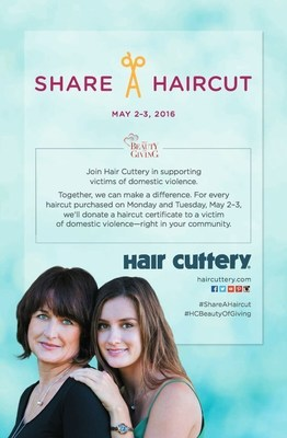On Monday and Tuesday, May 2-3, for every haircut purchased at one of Hair Cuttery's nearly 900 salons, a free haircut certificate will be donated to a victim of domestic violence through the National Network to End Domestic Violence's (NNEDV) member programs.