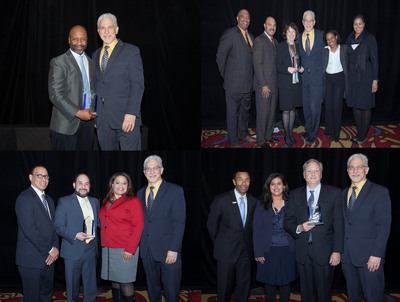 Photos (from top left, clockwise): NHS Executive Director Ed Jacob presents awards to Theaster Gates, Sunny Fischer, David Doig of Chicago Neighborhood Initiatives and Rafael Malpica of Walgreens.  (PRNewsFoto/Neighborhood Housing Services of Chicago)