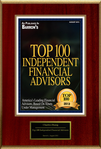 "Charles Zhang, CFP Selected For ""Top 100 Independent Financial Advisors 2013"". (PRNewsFoto/American Registry)"