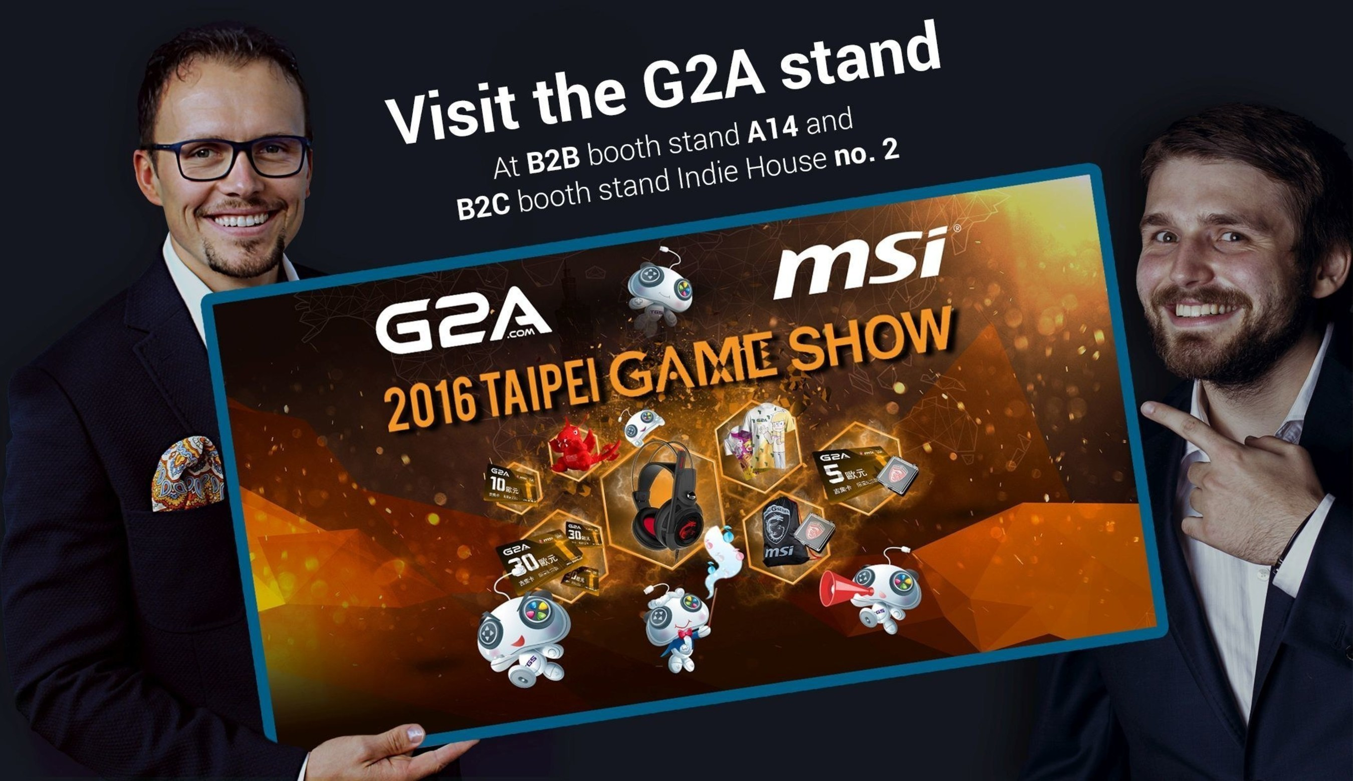 G2A's co founders, Bartosz Skwarczek and Dawid Rozek invite all to the G2A stands at Taipei Game Show.  www.g2a.com (PRNewsFoto/G2A.com) (PRNewsFoto/G2A.com)