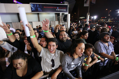 Fans attend special fan screenings of PARANORMAL ACTIVITY 3, from Paramount Pictures, at the Cinerama Dome in Hollywood, CA on Tuesday, Oct. 18th, 2011.  (PRNewsFoto/Paramount Pictures Corporation, Alex J. Berliner /ABImages)