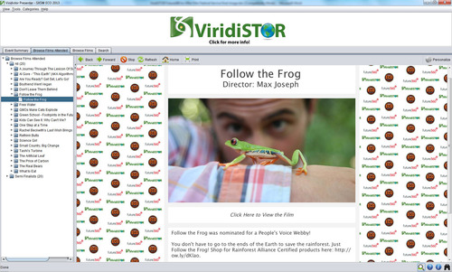 "Screenshot of ""Most Viral Winner"" Follow the Frog as it appeared on the Film Festival Presenter USB where clicking on the image launches the video. (PRNewsFoto/ViridiSTOR LLC)"