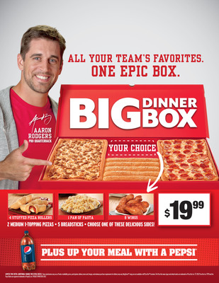 Pizza Hut kicks off football season with the MVP duo: Aaron Rodgers and Big Dinner Box. The Big Dinner Box is an epic-sized box filled with two medium rectangular one-topping pan pizzas, five breadsticks and the choice of four Stuffed Pizza Rollers, one pan of Tuscani(R) Pasta or eight wings for only $19.99. Customers who order their Big Dinner Box online at PizzaHut.com also get a free 2-liter Pepsi.  (PRNewsFoto/Pizza Hut)