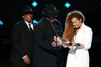 Janet Jackson being presented with Ultimate Icon Award by Jimmy Jam and Terry Lewis at the 2015 BET Awards
