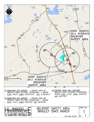 Map of new Anderson County heliport locations (PRNewsFoto/Bradley Oaks Ranch)