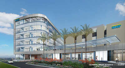 This rendering of Sharp Chula Vista Medical Center in Chula Vista, Calif., shows how the tower will appear after construction. (Credit: SmithGroupJJR)