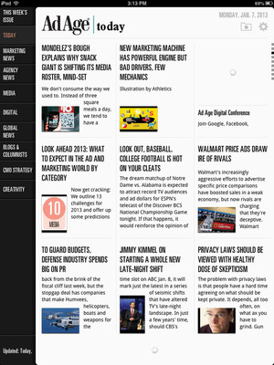 Get the best news and insight on marketing and media, plus top creative, in the Ad Age app for the iPad. On iTunes now.  (PRNewsFoto/Advertising Age)