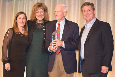 "Pictured from left to right at Perkins 2016 Franchise Conference are Robyn Marino, Senior Director, Operations Services, Pam Landwirth, President and CEO of Give Kids The World Village, longtime Perkins franchisee and past Chairman's Award Winner, Homer ""Scotty"" Scott, recipient of Perkins' Give Kids The World Award honoring his outstanding dedication, commitment and tireless fundraising for the Company's designated charity, and Jeff Warne, President and CEO of Perkins & Marie Callender's, LLC."