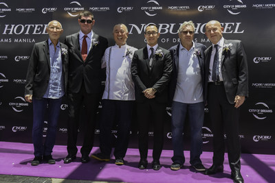 On the 'purple carpet' at the official opening of the first Nobu Hotel in Asia at City of Dreams Manila, are, from left to right, Hollywood Film Producer and Nobu partner, Mr. Meir Teper, Melco Crown Entertainment Co-Chairman Mr. James Packer, Chef Nobu Matsuhisa, Melco Crown Entertainment Co-Chairman and CEO Mr. Lawrence Ho, multi Academy award-winning actor and Nobu partner, Mr. Robert De Niro, and Chief Executive of Nobu Hospitality Mr. Trevor Horwell.