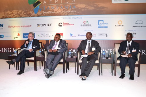 Speakers participate in a panel discussion at the annual Powering Africa: Tanzania meeting in Dar es Salaam ...