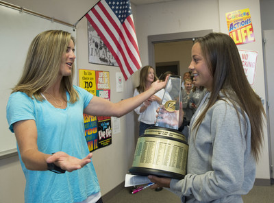 In its 30th year of honoring the nation's best high school athletes, The Gatorade Company, in collaboration with USA TODAY High School Sports, announced Mallory Pugh of Mountain Vista High School (Highlands Ranch, Colo.) as its 2014-15 Gatorade National Girls Soccer Player of the Year on Thursday, May 21, 2015. Pugh was surprised with the news at her school by Gold Medalist and World Cup Champion Brandi Chastain. Photo/Gatorade, Susan Goldman, handout.