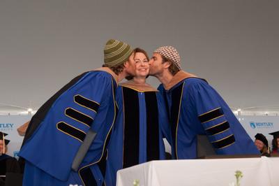 Bentley University President Gloria Larson with Life is good Co-Founders John and Bert Jacobs at Bentley's 94th Annual Undergraduate Commencement.  (PRNewsFoto/Bentley University)