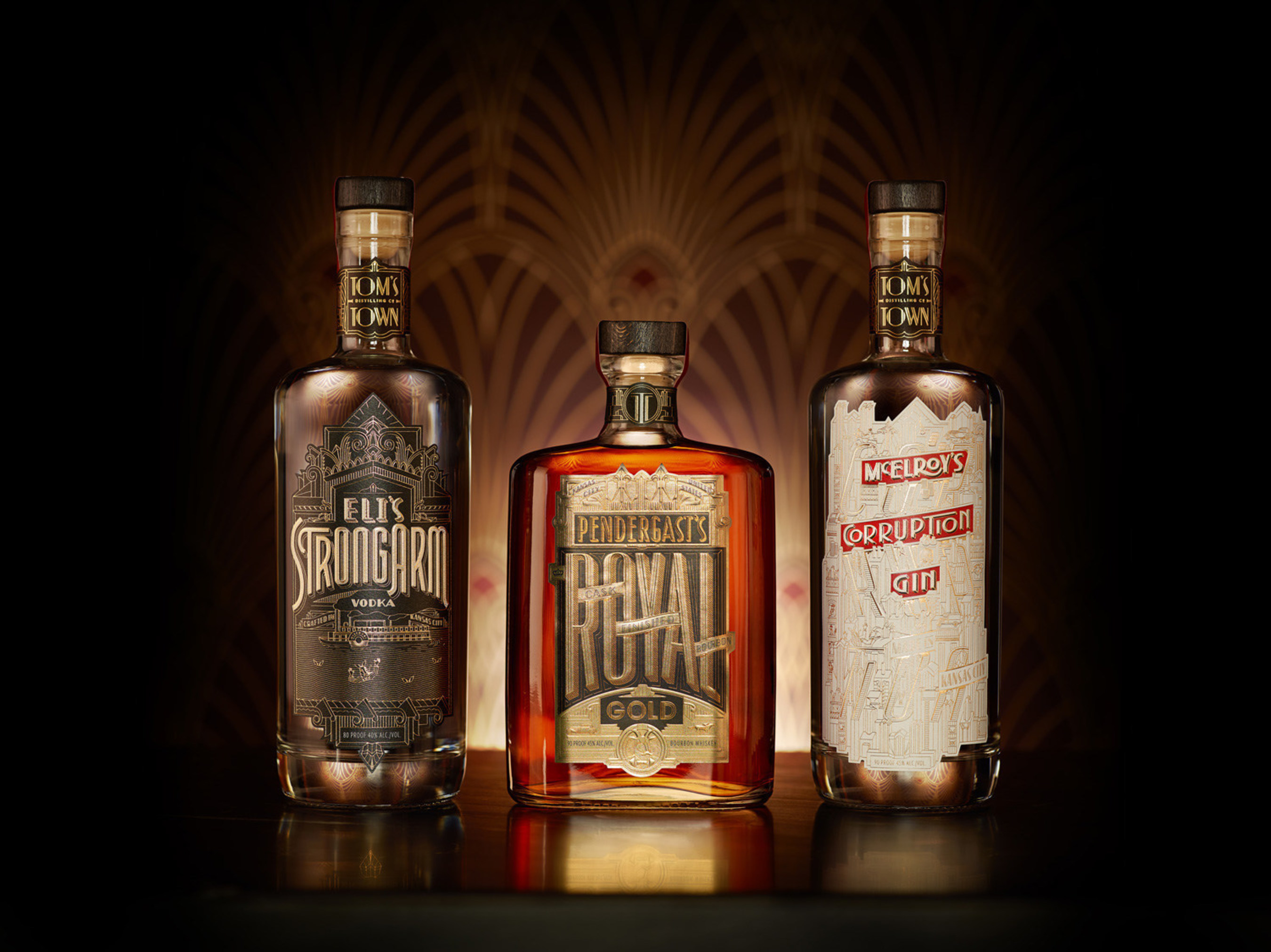 All three Tom's Town spirits are now available in both Kansas and Missouri: Pendergast's Royal Gold Bourbon, McElroy's Corruption Gin and Eli's StrongArm Vodka.