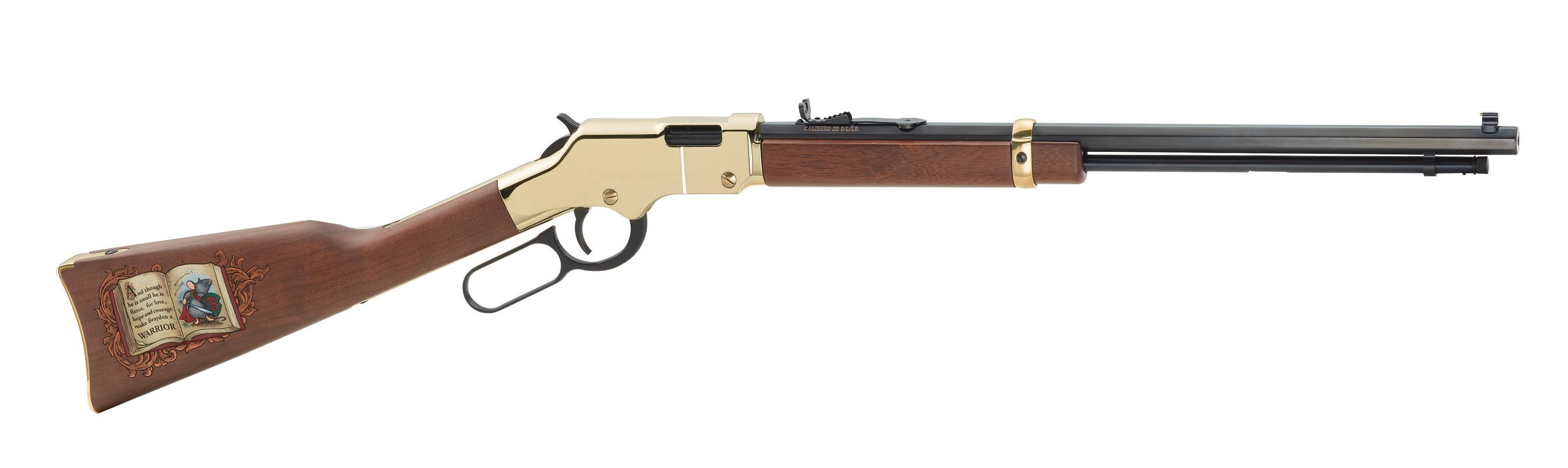 """SERIAL NUMBER """"BRAYDEN01"""" HENRY GOLDEN BOY IS FIRST OF 33 RIFLES CREATED TO HELP 2-YEAR-OLD INDIANA BOY NEEDING ORGAN TRANSPLANTS"""