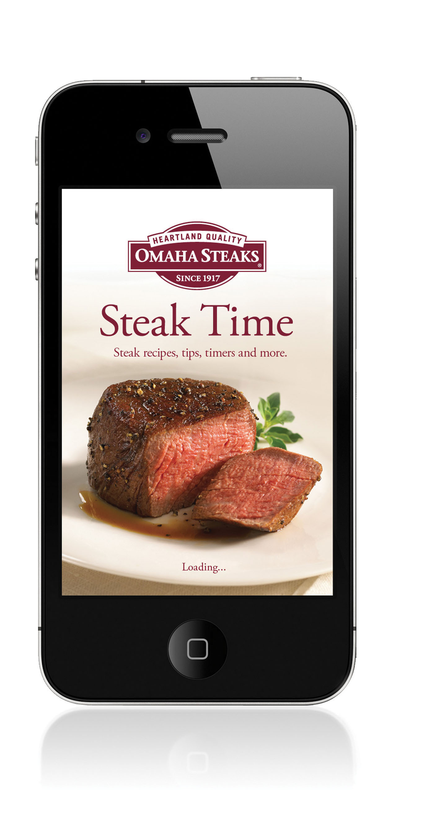 Omaha Steaks Steak Time App makes shopping for the perfect holiday gift easy and convenient. Users can browse and purchase gifts and access many innovative features perfect for holiday entertaining.  (PRNewsFoto/Omaha Steaks)