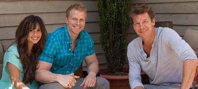 "Designer Ty Pennington visits with America's Favorite Bachelor Couple, Sean and Catherine Lowe during a recent trip to their Dallas home, where he designed their outdoor living space. It's part of a web series called ""Sears Outdoor Living Celebrity Challenge"". Check it out at sears.com/outdoorliving."