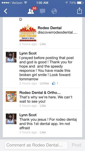 LYNN'S FACEBOOK MESSAGE TO DENTISTS PRIOR TO APPT. (PRNewsFoto/Rodeo Dental)