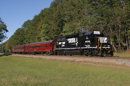 The Norfolk Southern Operation Lifesaver safety train aims to raise public awareness about being safe and alert  ...