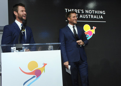 """Chef Curtis Stone introduces fellow Australian Chris Hemsworth as the new global ambassador for Tourism Australia's """"There's Nothing Like Australia"""" Coastal and Aquatic campaign, showcasing the country's world-class beaches, aquatic and coastal experiences, during an event on the eve of Australia Day, Monday, Jan. 25, 2016, in New York. (Photo by Diane Bondareff/Invision for Tourism Australia/AP Images)"""