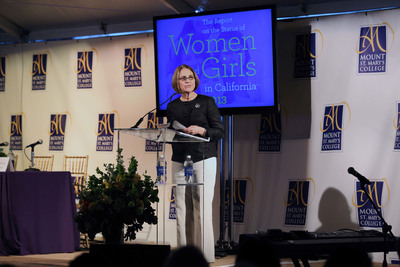 Mount St. Mary's College President Ann McElaney-Johnson speaks at the public release of the college's 2013 Report on the Status of Women and Girls in California.  (PRNewsFoto/Mount St. Mary's College)