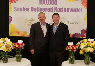"FTD Companies, Inc. CEO Rob Apatoff (left) and Random Acts of Flowers CEO Larsen Jay (right) announce a national partnership on Nov. 12, 2015. In celebration of World Kindness Day,  Random Acts of Flowers volunteers and employees from FTD and ProFlowers delivered more than 3,000 flowers to seniors at Brookdale Lake View in Chicago, including the new ""Random Acts of Flowers"" bouquets featured at FTD.com and ProFlowers.com. Photo by Jean Marc Giboux/AP Images for FTD."