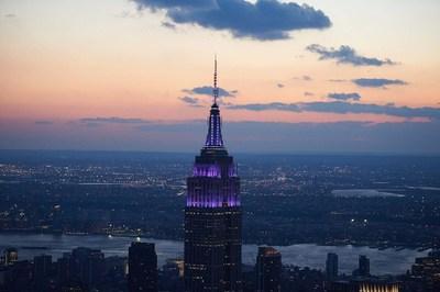 The Empire State Building glows purple Nov. 17 for World Prematurity Day. #WorldPrematurityDay