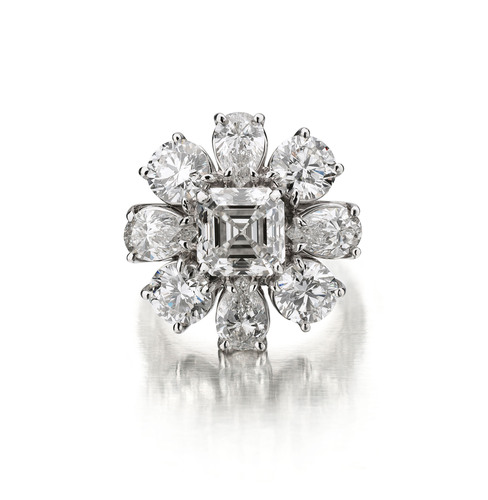 PRINCESS RING #RG45176 - 3.03 Asscher cut center H VS1 with 4 P/S approx. .75ct each and 4rounds .75 ct each ...