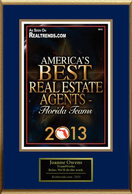 "Joanne Owens Selected For ""America's Best Real Estate Agents 2013 - Florida Teams"".  (PRNewsFoto/American Registry)"